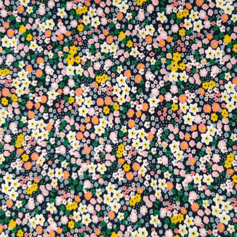 Petites fleurs jaune vert rose fond bleu marine