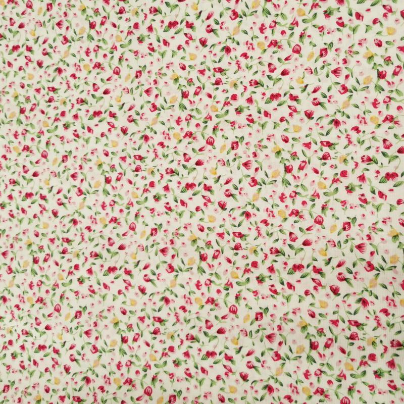 Petites fleurs roses et jaune fond blanc 1