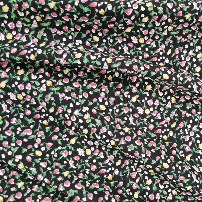 Petites fleurs roses et jaune fond noir 2