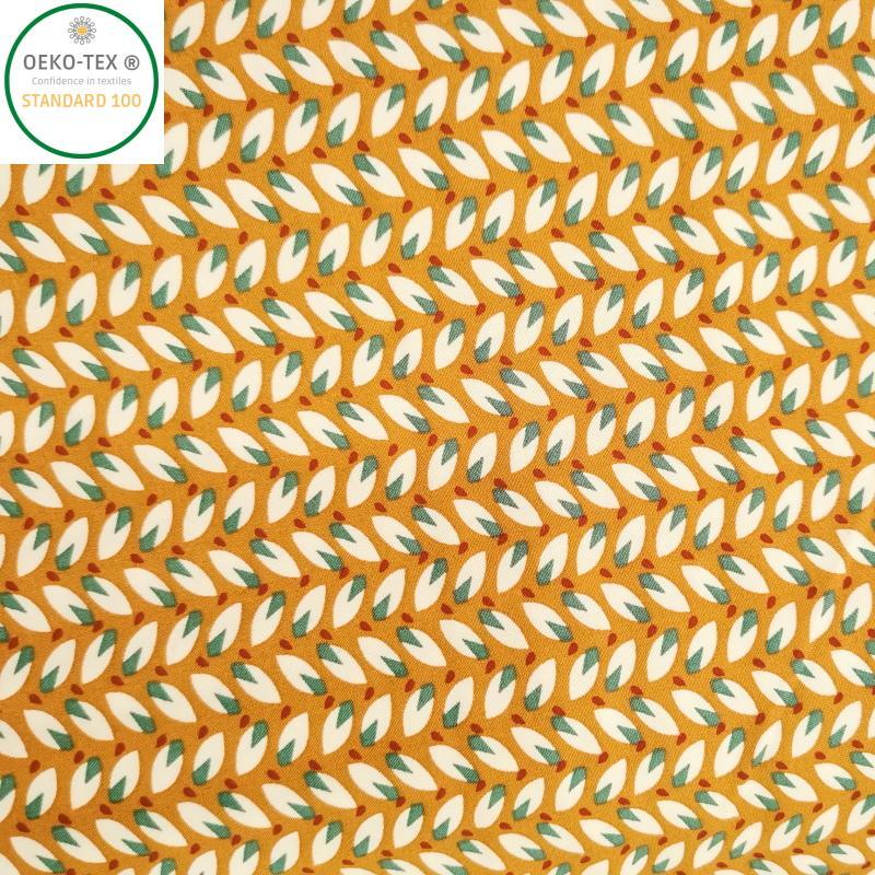 Tissu viscose epis fond jaune