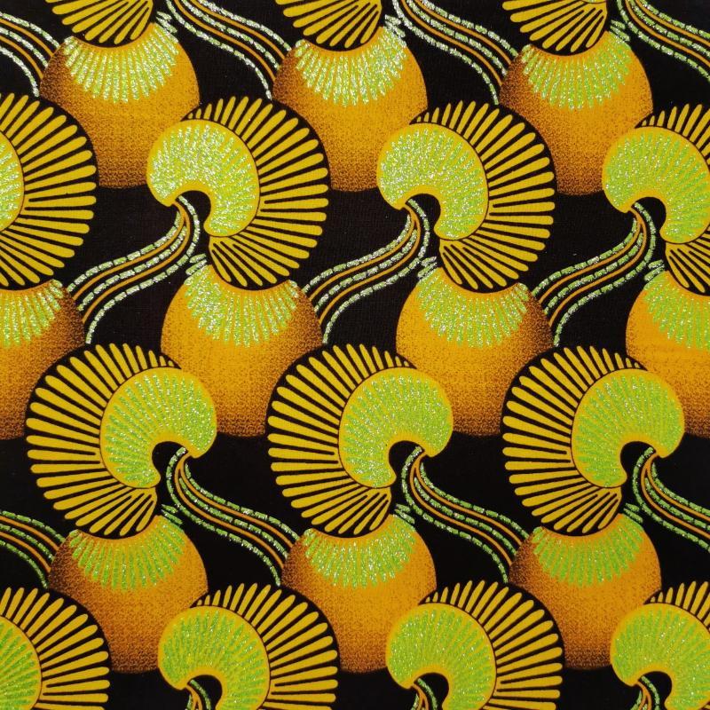 Tissu wax turnoise jaune