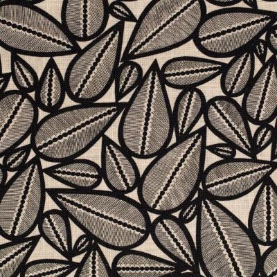 Toile de coton lima noir fond vanille